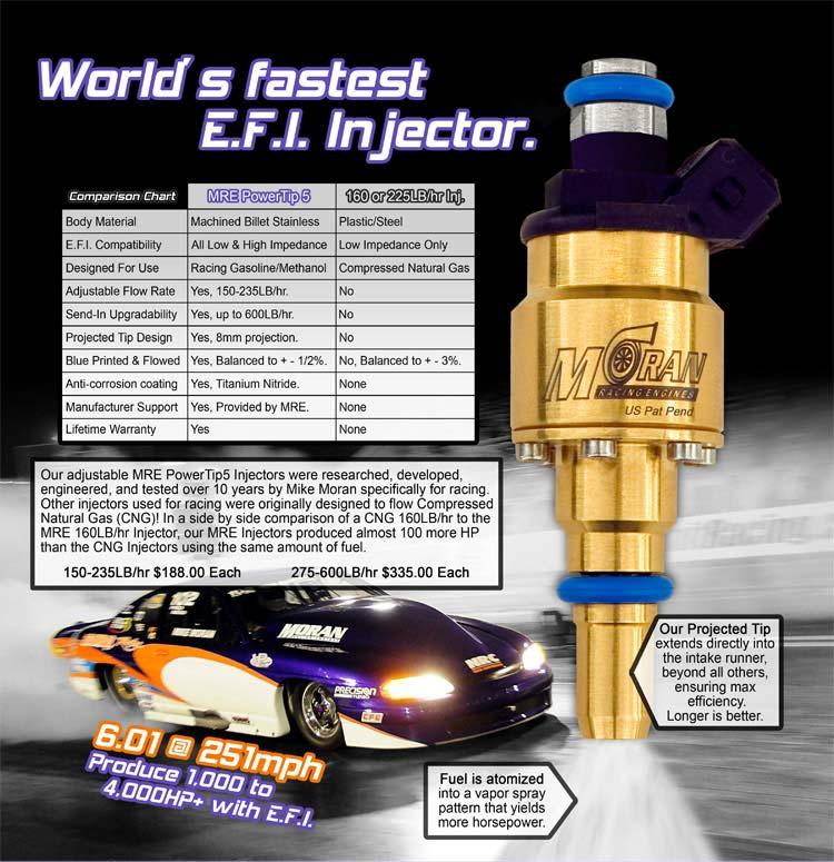235 lb/hr MRE Adjustable PowerTip 5 Racing Billet Injector (150 - 235 lb/hr  range)
